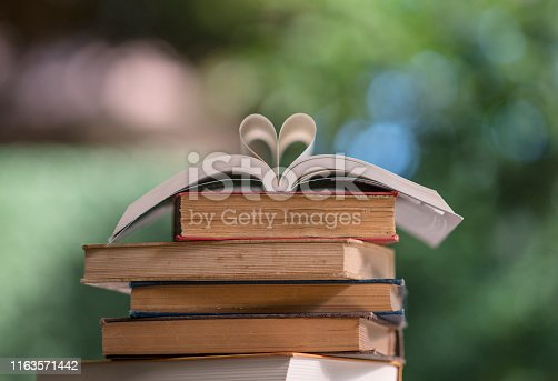 503708758istockphoto Heart shape made from book pages 1163571442