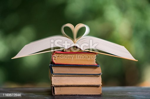 667312870istockphoto Heart shape made from book pages 1163572544