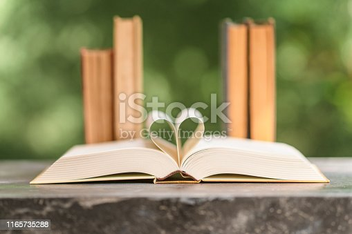 503708758istockphoto Heart shape made from book pages 1165735288