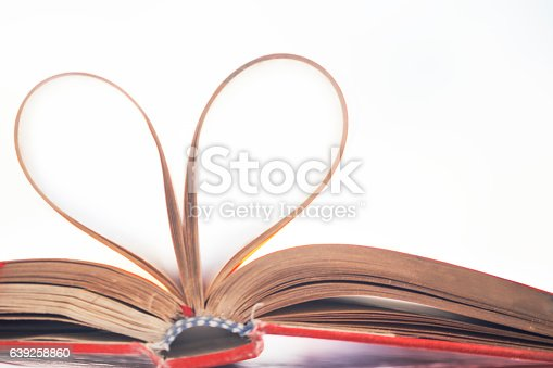 istock Heart shape made from book pages 639258860