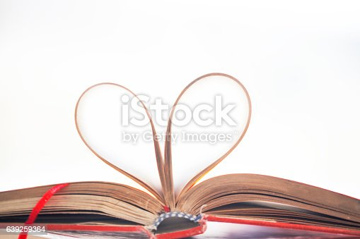 istock Heart shape made from book pages 639259364