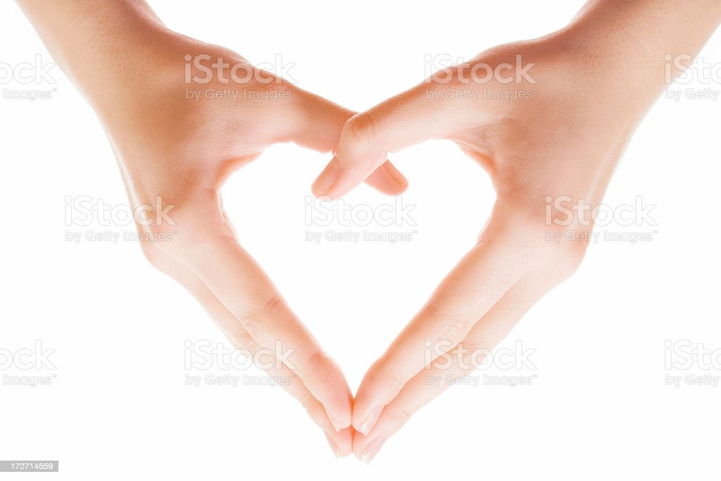 Heart shape made of two beautiful and soft palms royalty-free stock photo