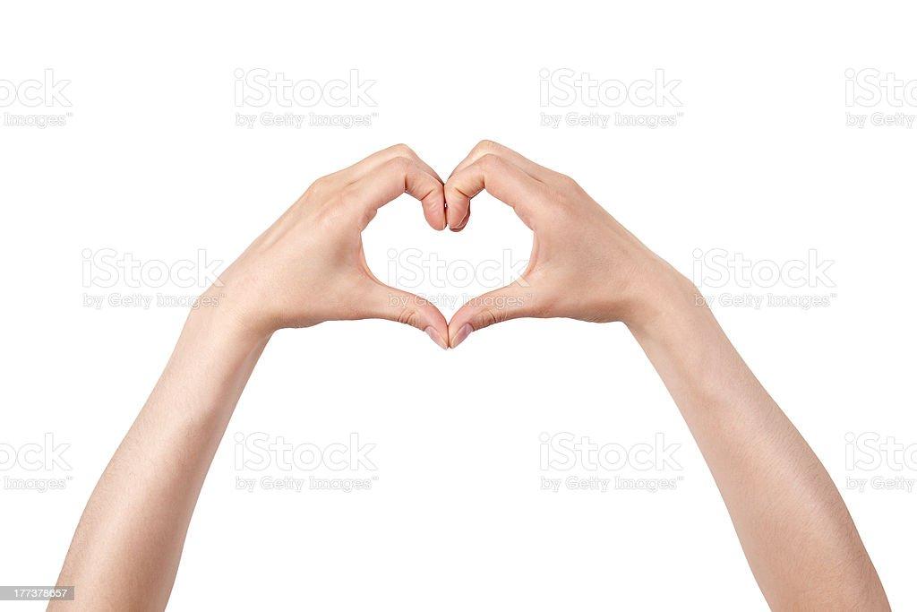 heart shape made of two beautiful palms stock photo