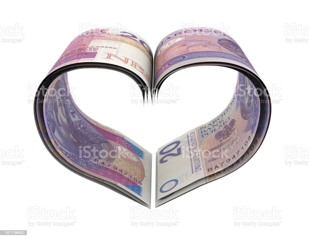 Heart Shape Made Zloty stock photo