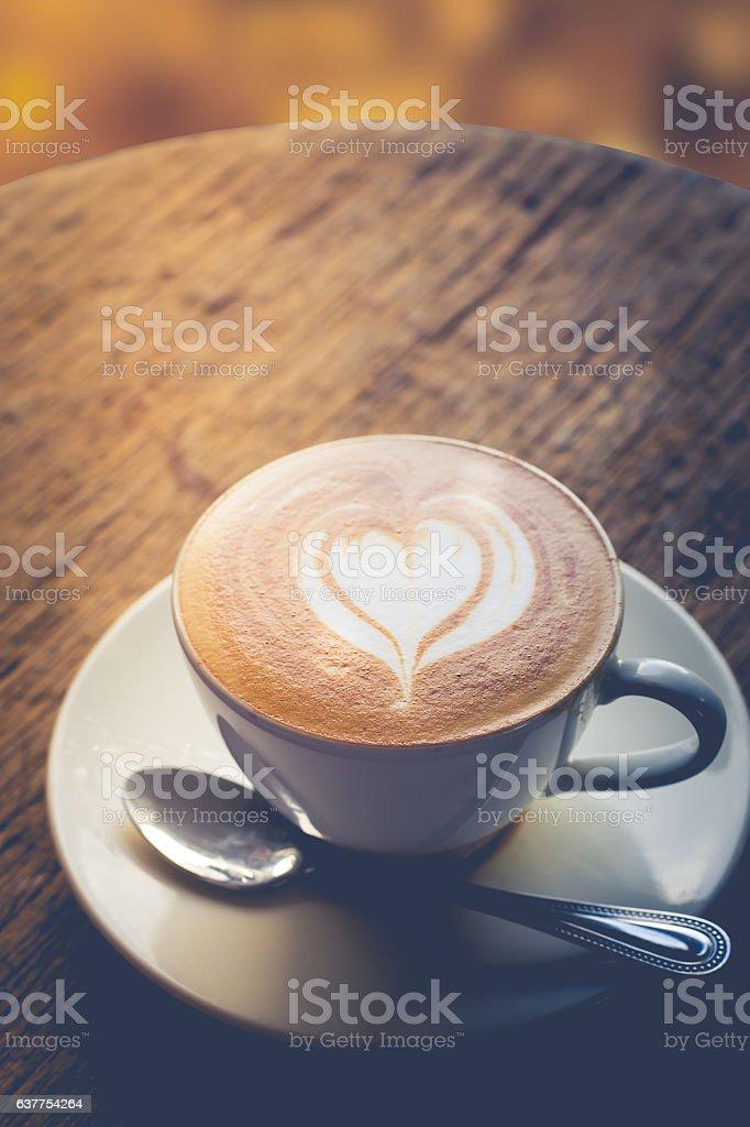 heart shape of latte art hot coffee stock photo