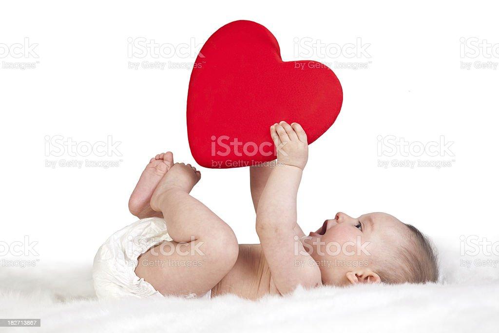 heart shape of the baby's hand stock photo