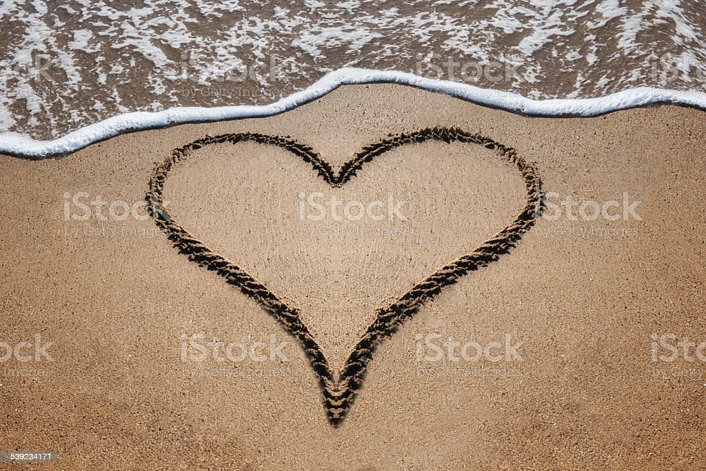 Heart shape on a beach royalty-free stock photo