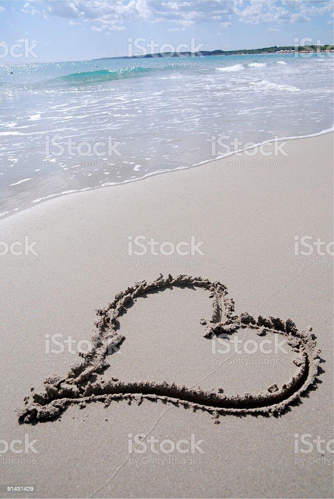heart shape on a beach  (1 Dollar Image) royalty-free stock photo