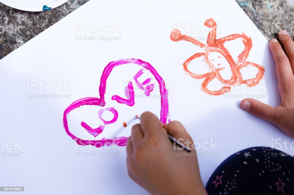 A heart shape on paper stock photo