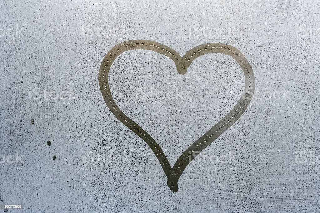 heart shape on the window stock photo
