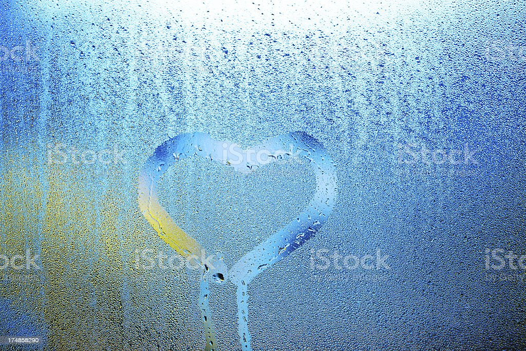 heart shape on window royalty-free stock photo