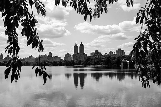 Heart shape overlooking the lake in Central Park stock photo
