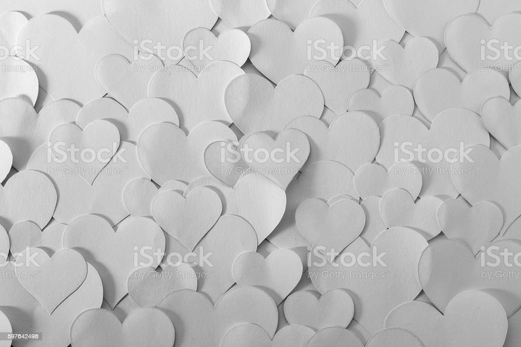 Heart shape papers, black and white stock photo