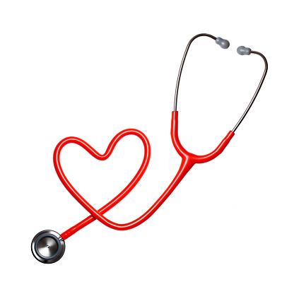 Heart shape from stethoscope on white background.