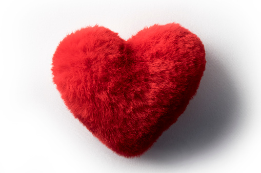 Heart shape red fluffy pillow or cushion representing love