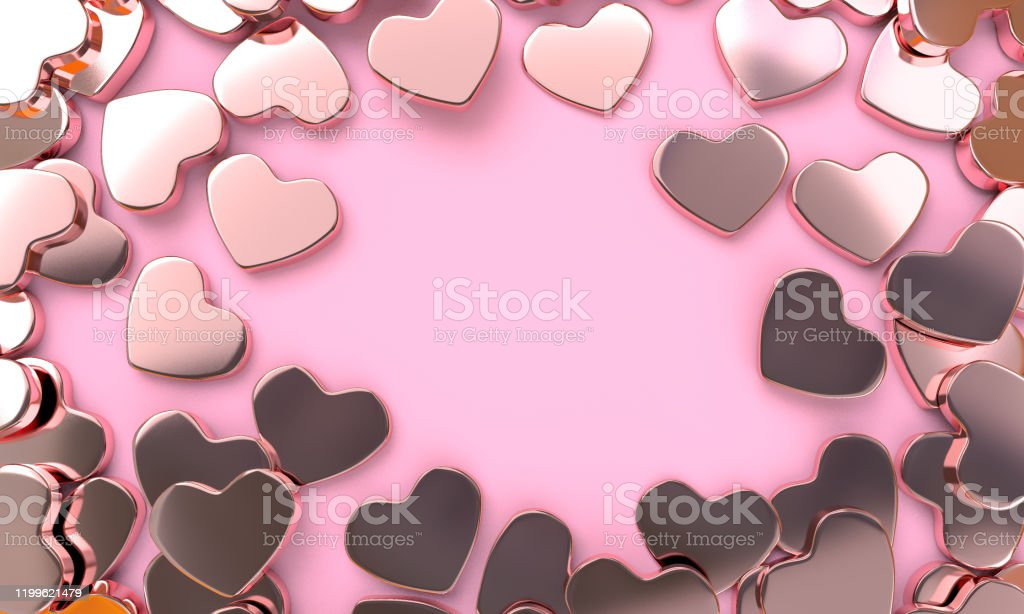 heart shape rose gold color wallpaper picture id1199621479