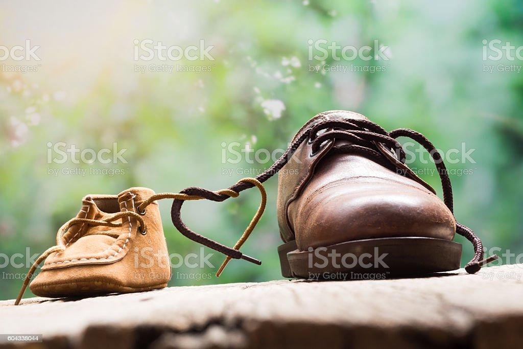 heart shape shoestring stock photo
