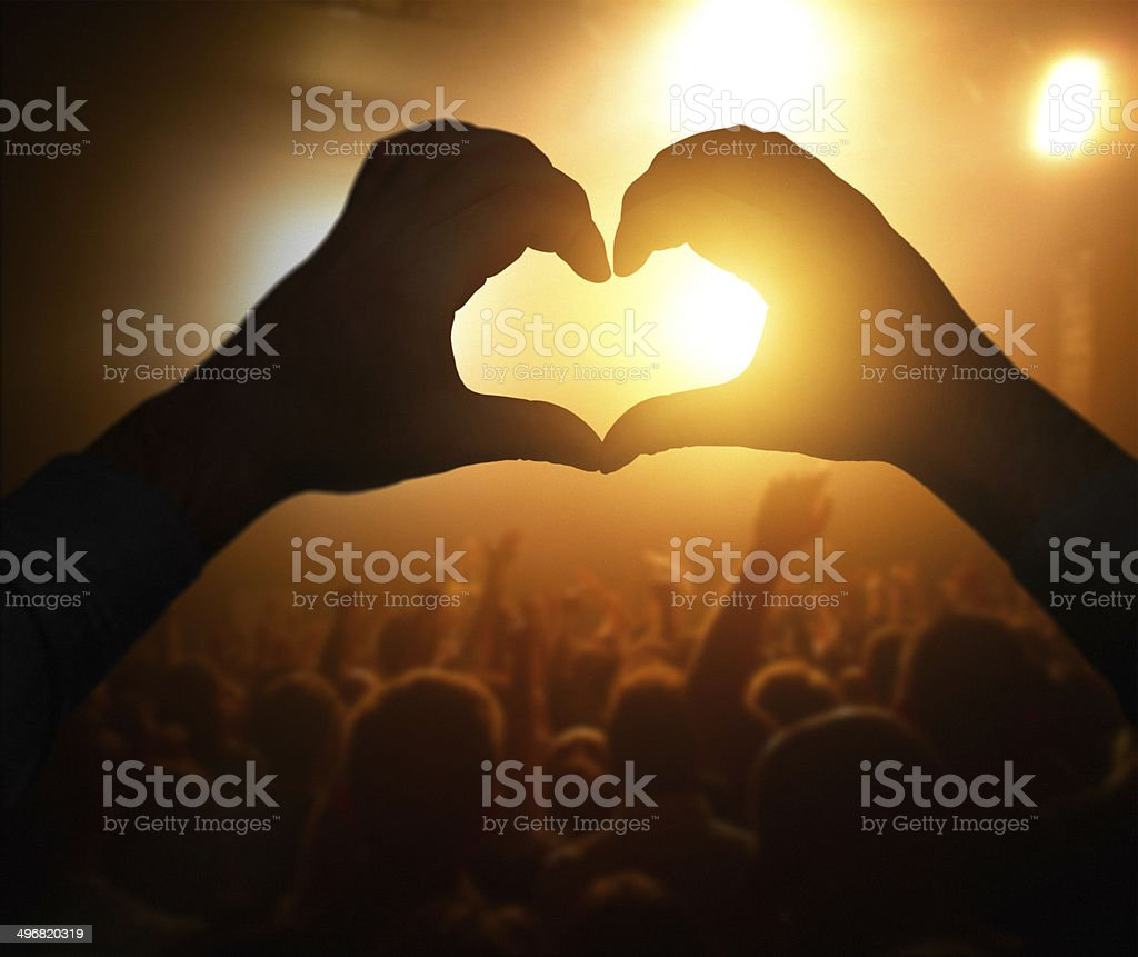 heart shape sign at the concert royalty-free stock photo