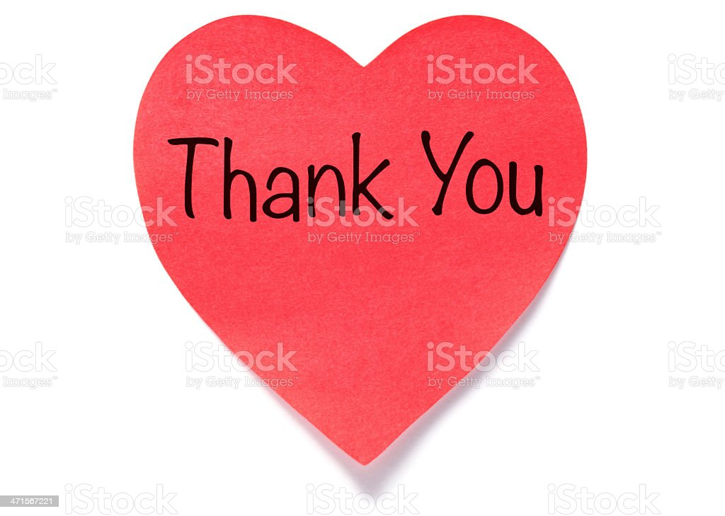 Heart shape Thank You post-it note royalty-free stock photo