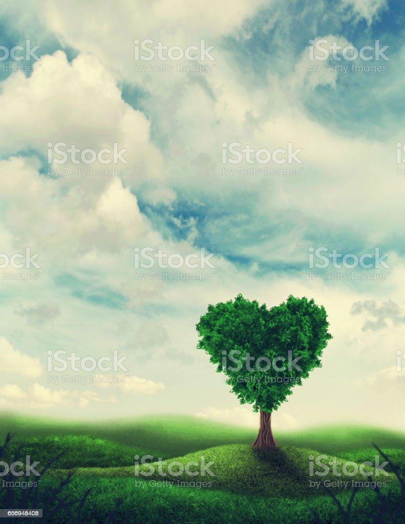 Heart shape tree stock photo