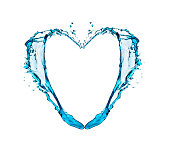 Heart shape blue water splash isolated on white abstract pattern
