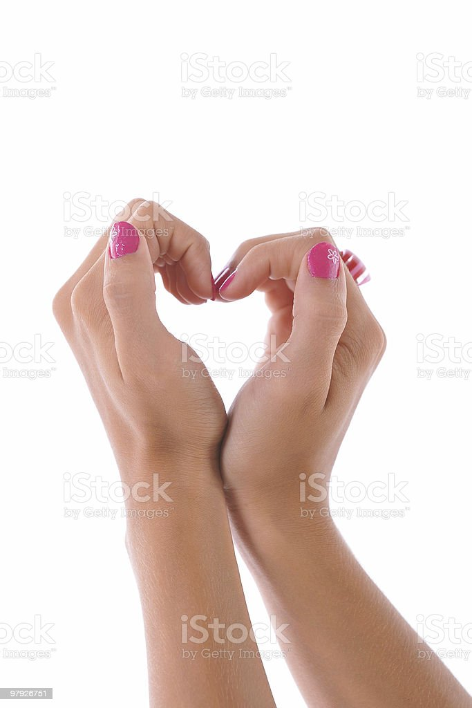 Heart shape with her hands royalty-free stock photo