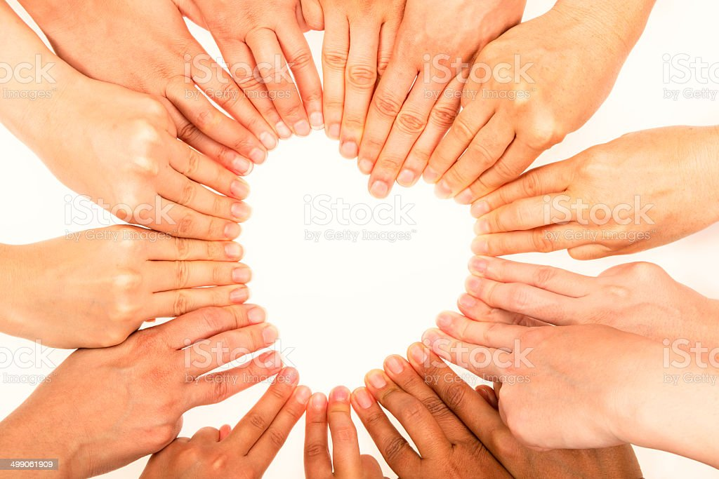 Heart Shape with human fingers stock photo