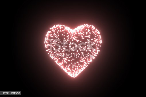 3D Rendering of Heart Shape with Light Trails on Black Color Background. Valentine's Day Concept.