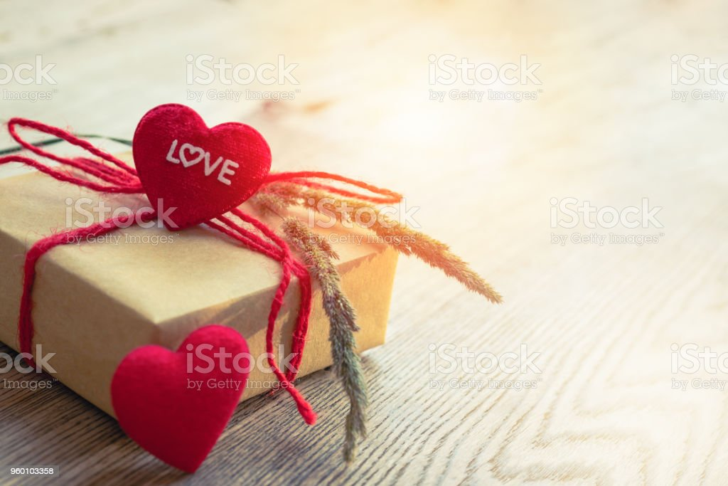 Heart Shape With Love Word Gift Box And Flower Copye For Texting Royalty