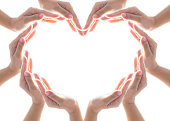 istock Heart shape woman people's hand collaboration isolated on white background for humanitarian aid, cooperation, donation and support concept 968637366