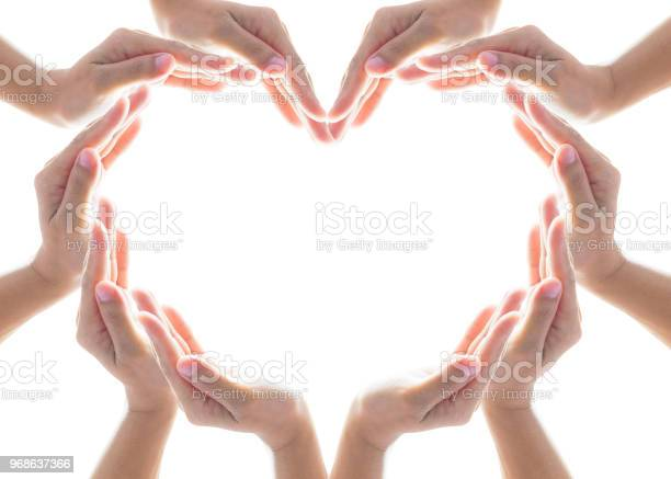Heart shape woman peoples hand collaboration isolated on white for picture id968637366?b=1&k=6&m=968637366&s=612x612&h=4cuprpokn7bdr09prxyfnlr9fhpvyohabtqrz3wl dq=