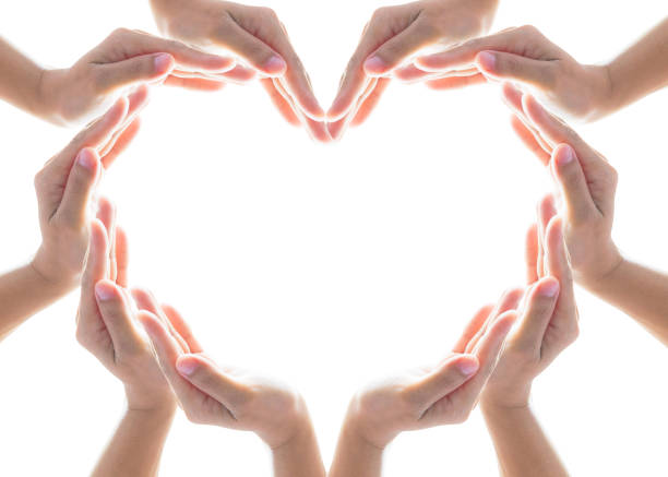 Heart shape woman people's hand collaboration isolated on white background for humanitarian aid, cooperation, donation and support concept - foto stock