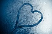 Heart Shape written on glass for St. Valentine