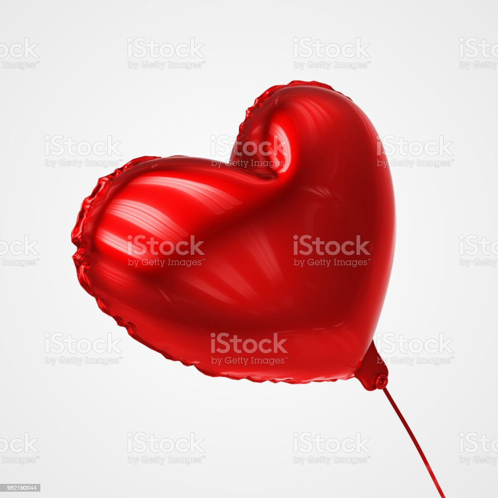 Heart shaped Balloon Floating in perspective view - Stock Image stock photo