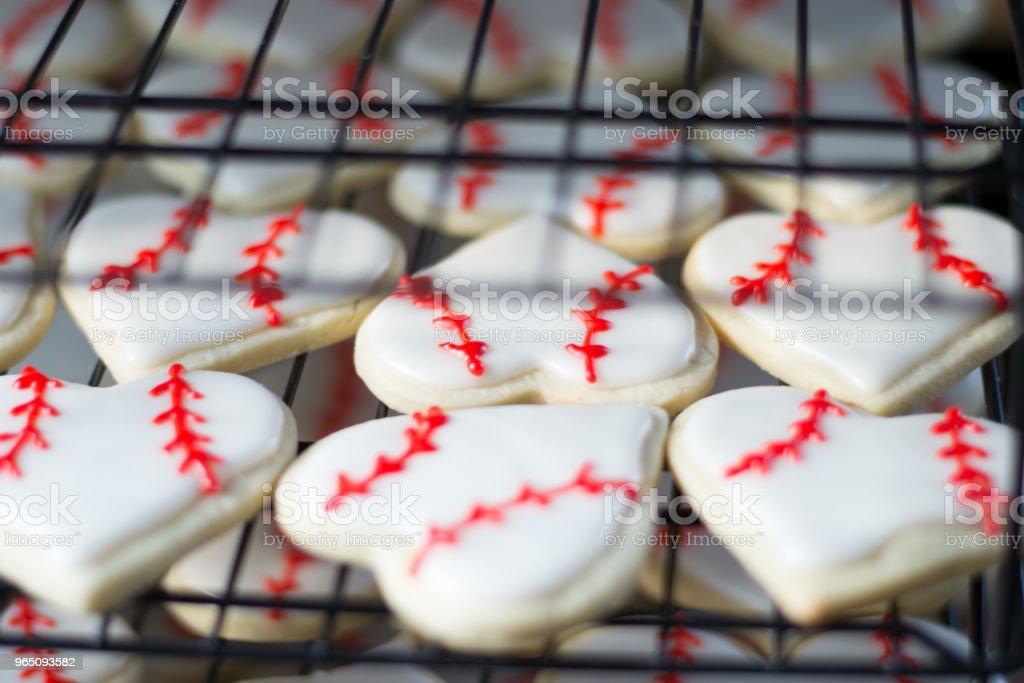 Heart Shaped Baseball Sugar Cookies zbiór zdjęć royalty-free