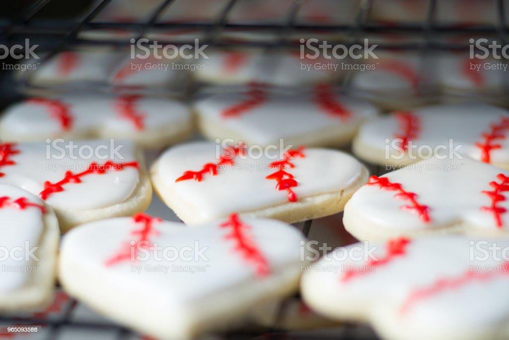 Heart Shaped Baseball Sugar Cookies royalty-free stock photo