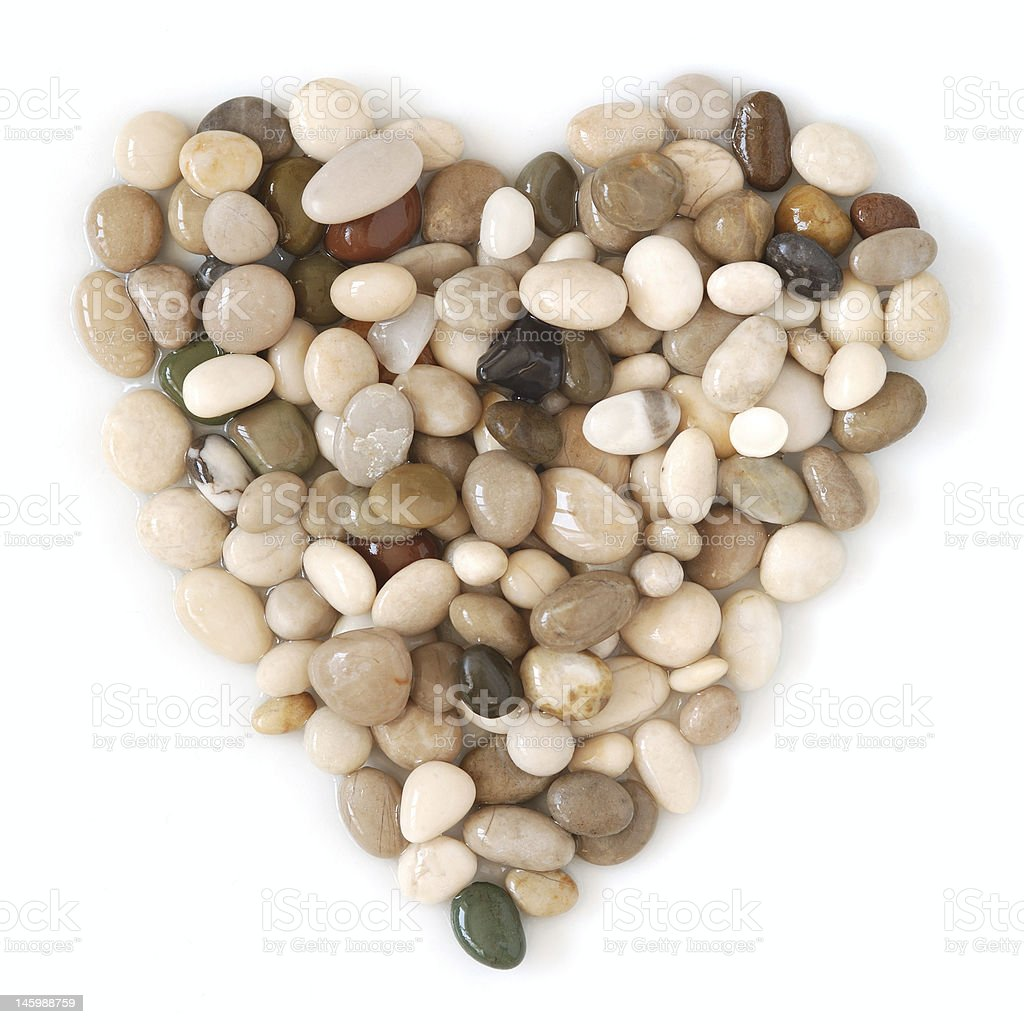 Heart shaped beach stones, wet royalty-free stock photo