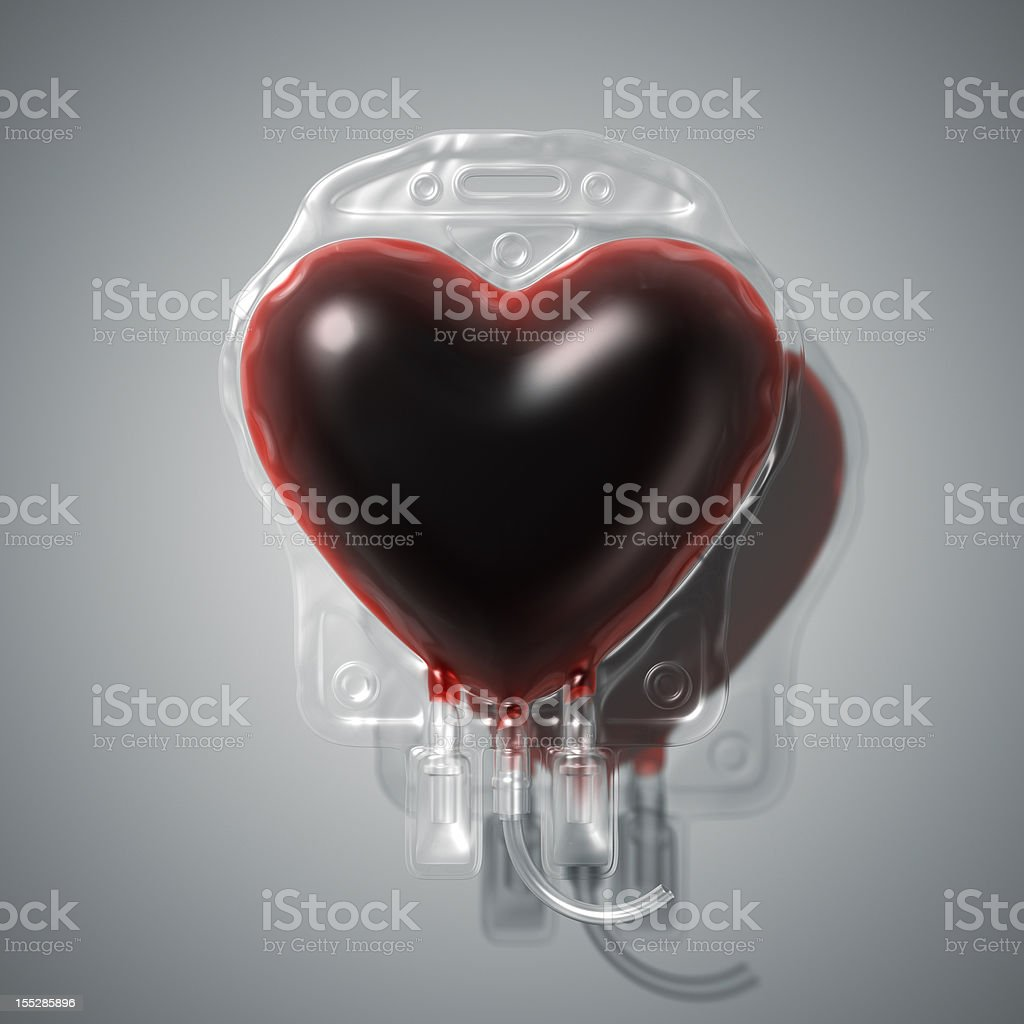 Heart shaped blood donation bag stock photo
