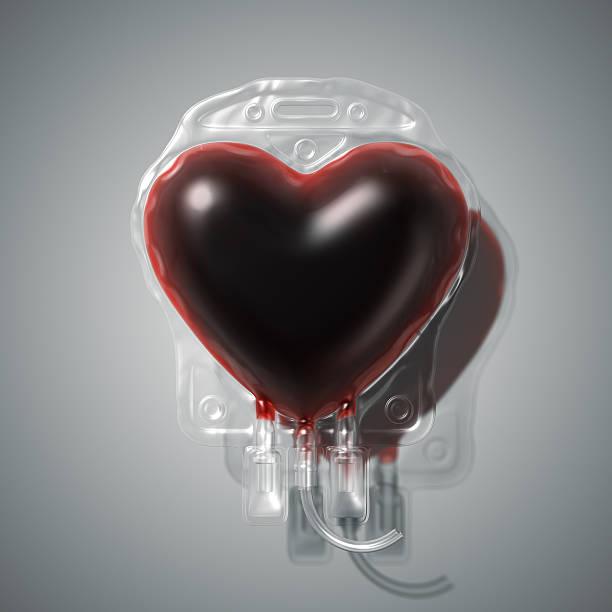 Heart shaped blood donation bag stock photo