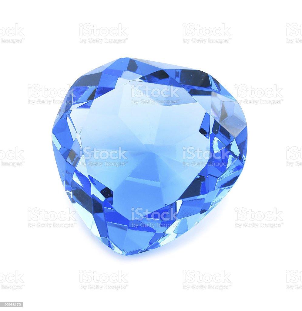 Heart shaped blue crystal isolated royalty-free stock photo