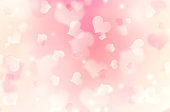 Soft pink blurred hearts background.Valentine backdrop.