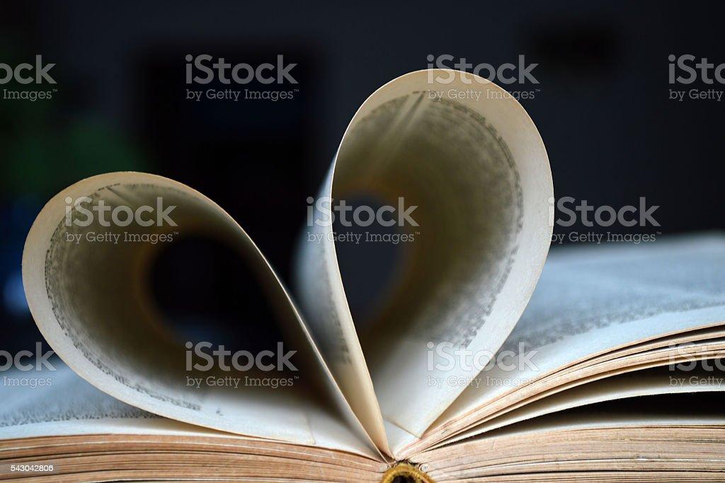 Corazón en forma de páginas de libro - foto de stock