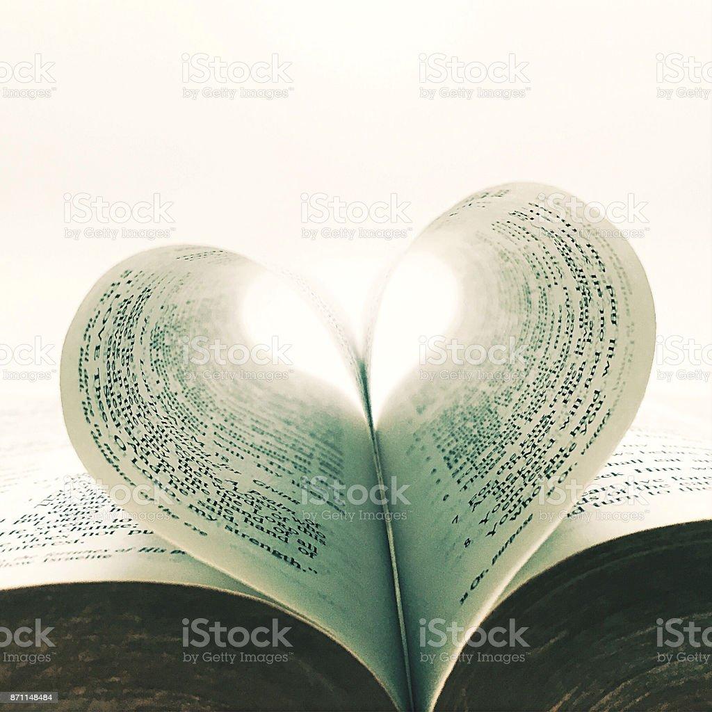 Coração em forma de páginas de reserva - foto de acervo