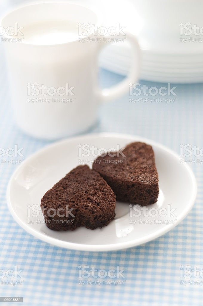 Heart shaped brownies stock photo