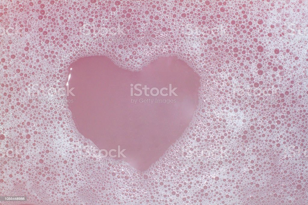 Heart Shaped Bubbles.Abstract, Foam bubbles white background. Detergent stock photo