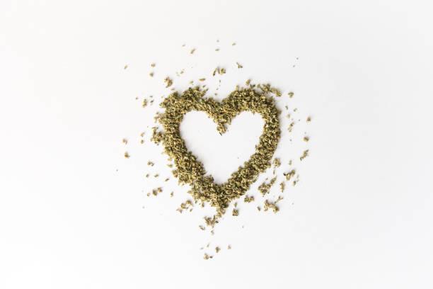 Heart Shaped Cannabis Marijuana stock photo