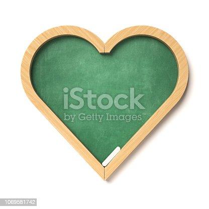 istock Heart shaped chalkboard 3d rendering 1069581742