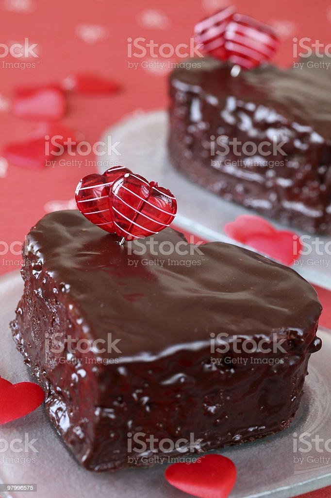 Heart shaped chocolate cakes royalty free stockfoto