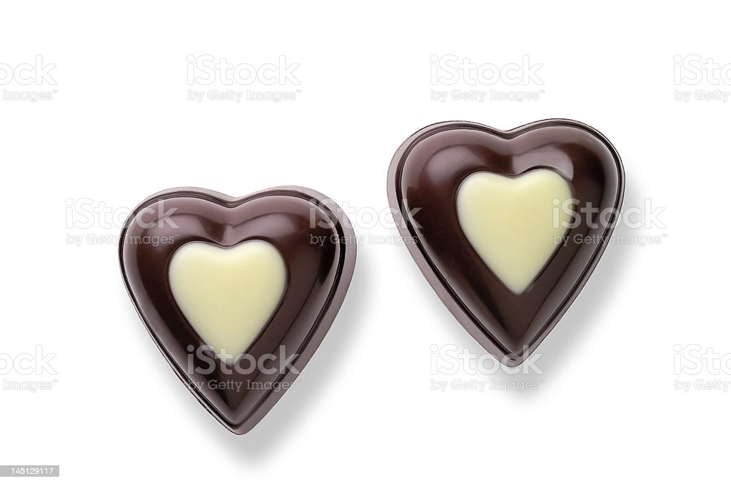 Heart shaped chocolate candies w/ clipping royalty-free stock photo