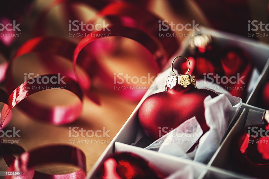 Heart shaped christmas baubles royalty-free stock photo